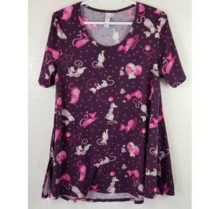 LulaRoe Purple Pink Cats Love Shirt Sz S